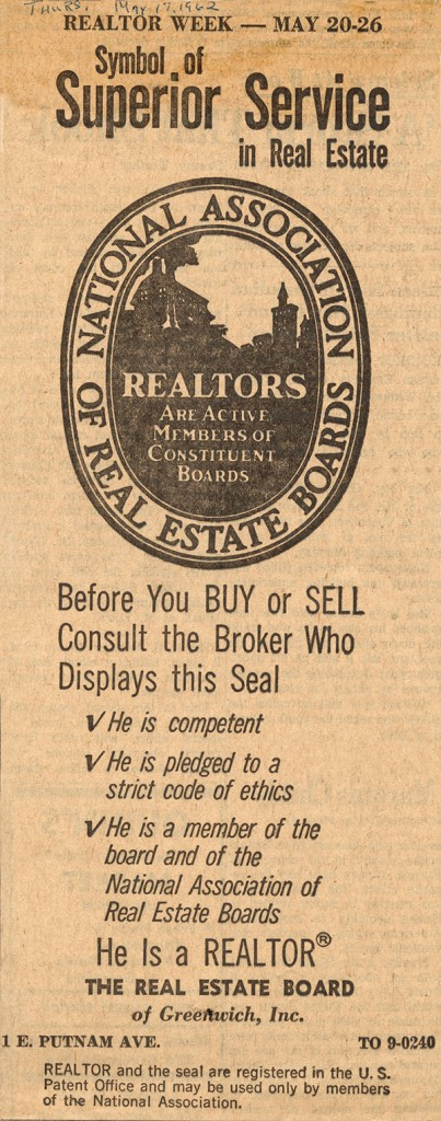 Newspaper Clipping Realtor 1962