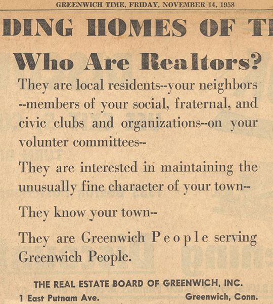 Who Are Realtors Greenwich Time 1958